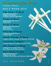 Poster of Services for Holy Week, 2018