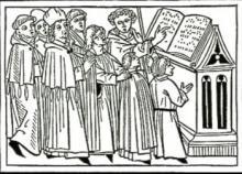 Illustration of monks reciting Gregorian chant