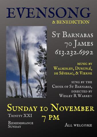 Evensong poster (details in event description)