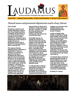 Cover page of Advent edition of Laudamus newsletter